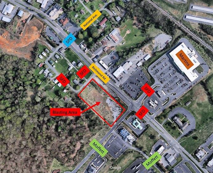 Map of Blasting Area in Staunton