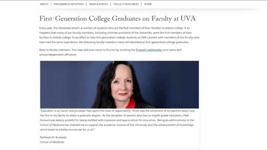 The University of Virginia released a public list of first generation faculty members