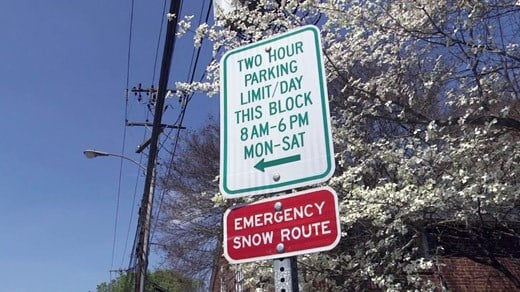 Sign for two hour parking in downtown Charlottesville