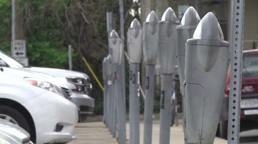 Parking meters in downtown Charlottesville