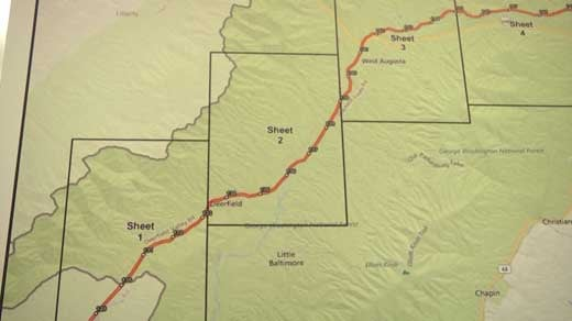 Proposed path for the Atlantic Coast Pipeline