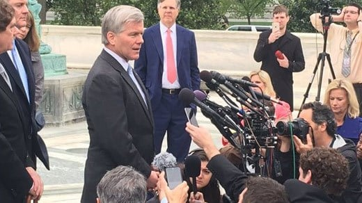 Bob McDonnell speaking to the media outside of the U.S. Supreme Court