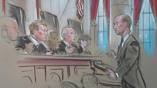 Justices hearing arguments concerning Bob McDonnell's appeal of his public corruption convictions (Image courtesy Bill Hennessy).