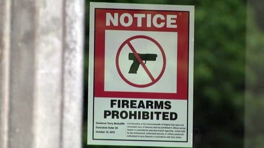 File Image: Notice prohibiting firearms at the Patrick Henry Building in Richmond