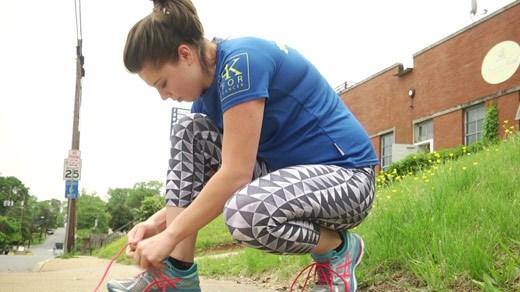 Schuyler Hughes preparing to go for a run in Charlottesville