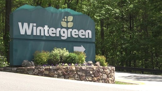 Entrance sign for Wintergreen Resort