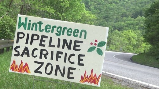 Sign protesting the Atlantic Coast Pipeline's proposed path through a portion of Wintergreen