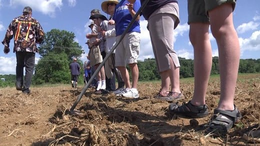 Protesters planting blue corn in Augusta County.
