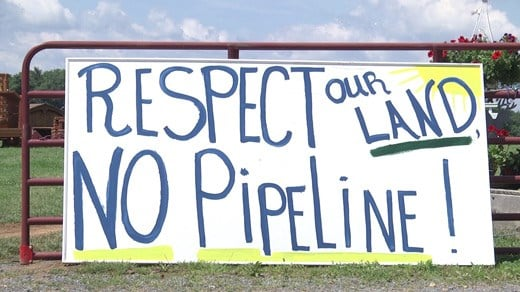 Sign protesting plans to put a natural gas pipeline through Augusta County.