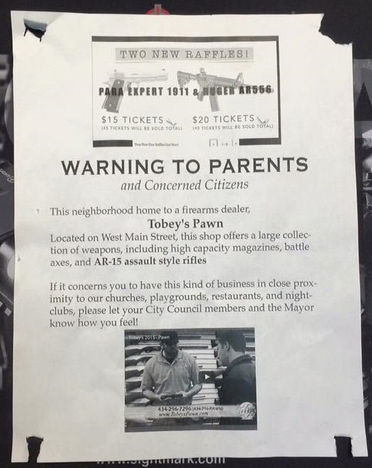 Flier protesting sale of firearms at Tobey's Pawn in Charlottesville