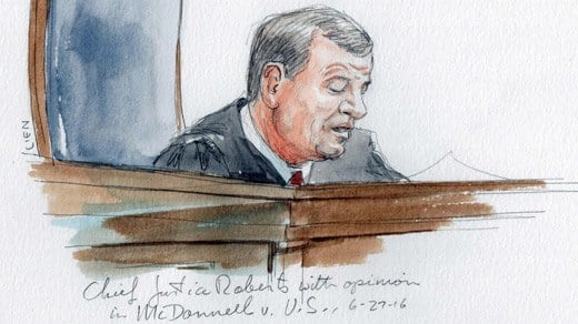 Court sketch of Chief Justice John Roberts