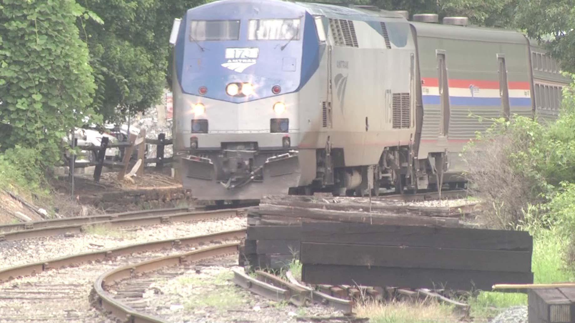 An Amtrak train arriving in Charlottesville