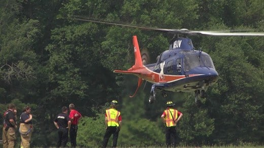 Pegasus transporting a crash victim to the UVA Medical Center