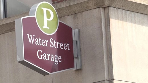 File Image: Sign for the Water Street Parking Garage in Charlottesville