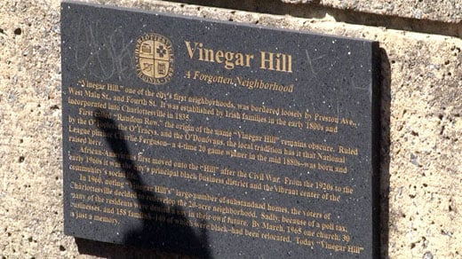 Plaque for Vinegar Hill on Charlottesville's Downtown Mall