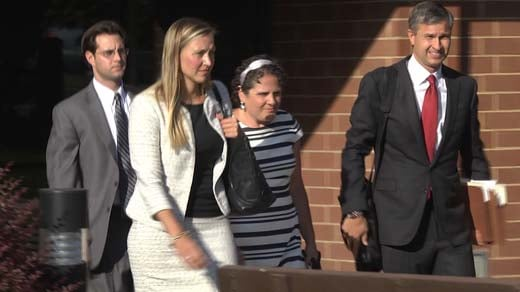 File Image: UVA Associate Dean Nicole Eramo and her lawyers leaving federal court in Charlottesville