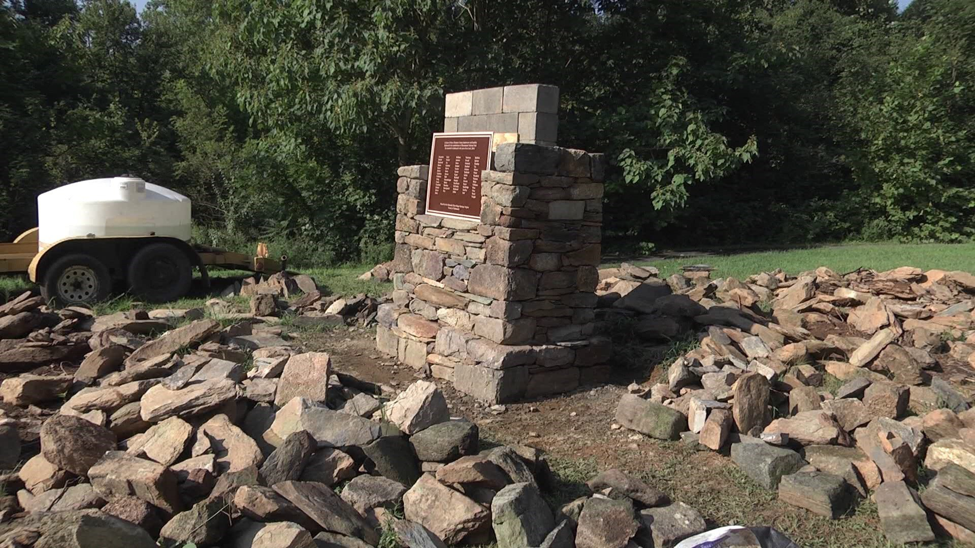 Work on a new memorial for Albemarle County families displaced by the creation of Shenandoah National Park