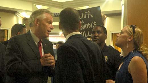 Gov. McAuliffe speaking with Jennifer Lewis of Friends of Augusta