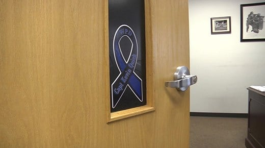 A ribbon on an office door at the Waynesboro Police Department