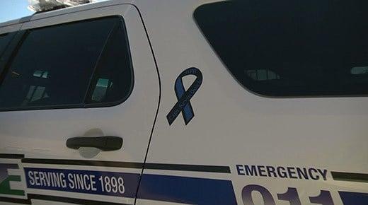 A memorial ribbon on a Waynesboro police car