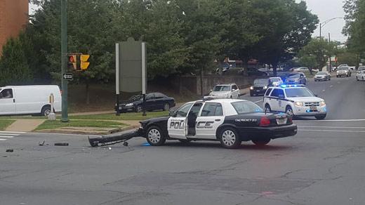 police car involved in crash at intersection of preston. Black Bedroom Furniture Sets. Home Design Ideas