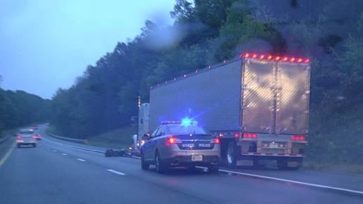 Virginia State Police on the scene of a fatal accident on Interstate 64