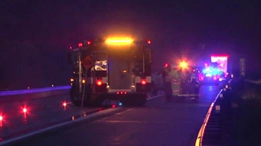 Emergency crews on the scene of a fatal accident on Interstate 64