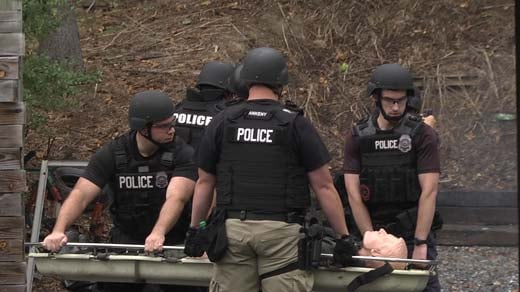Police participating in a training in Harrisonburg
