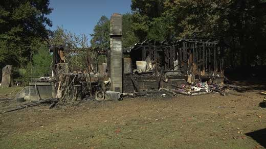 wreckage from house fire
