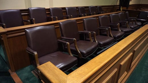 Jury box inside a federal courtroom in Charlottesville