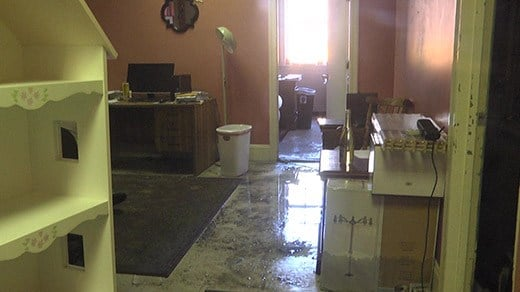 Water damage due to the fire