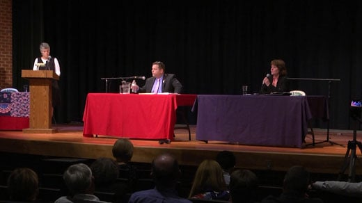 Tom Garrett (left) and Jane Dittmar (right) faced off in a debate at William Monroe High School