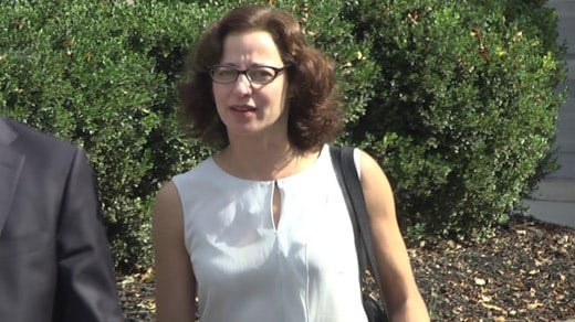 Sabrina Rubin Erdely entering court in Charlottesville