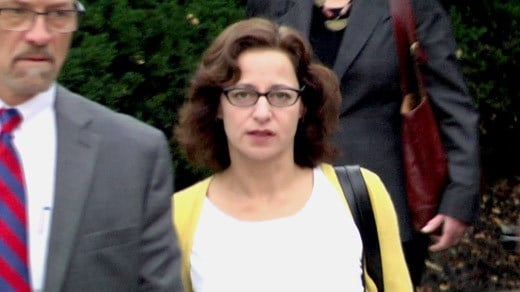 Sabrina Rubin Erdely entering court in Charlottesville