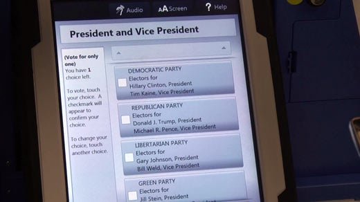 Sample display on a Charlottesville voting machine