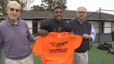 Charlottesville HS running back/safety  Rakeem Davis is the Falcon Club Player of the Week