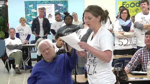 People participating in public comment at the Blue Ribbon Commission's meeting Thursday