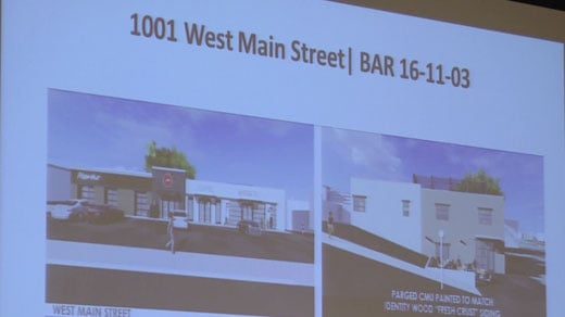 Designs for the proposed Pizza Hut on West Main Street