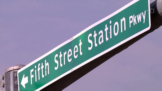 Sign for Fifth Street Station Parkway in Albemarle County