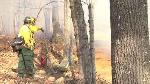 Lovingston Firefighters battle blaze