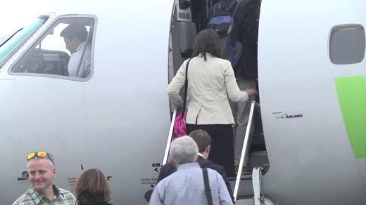 Passengers boarding a ViaAir jet at Shenandoah Valley Regional Airport