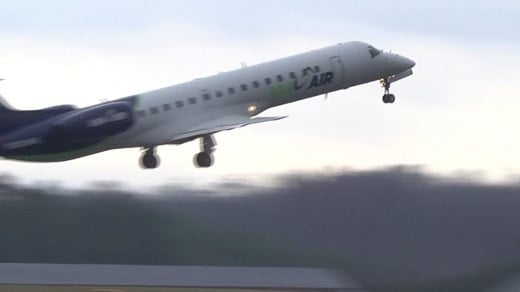 ViaAir jet taking off from Shenandoah Valley Regional Airport