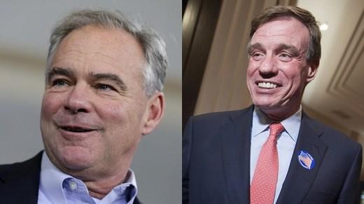 Sen. Tim Kaine and Sen. Mark Warner (Photos courtesy the Associated Press in 2016)
