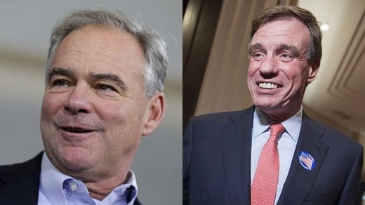 Sen. Tim Kaine and Sen. Mark Warner (Photos courtesy the Associated Press in 2016)