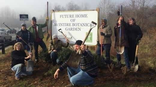 Volunteers gathering at the McIntire Botanical Garden in Charlottesville