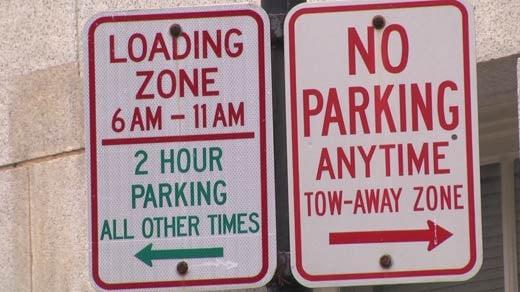 On-street parking sign in downtown Charlottesville