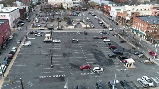 Surface parking lots on Water Street in Charlottesville