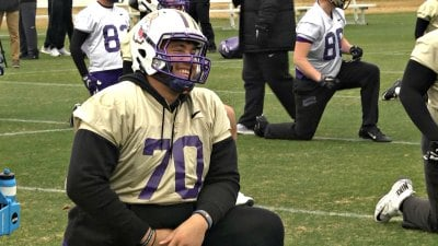 JMU senior offensive lineman Aaron Stinnie