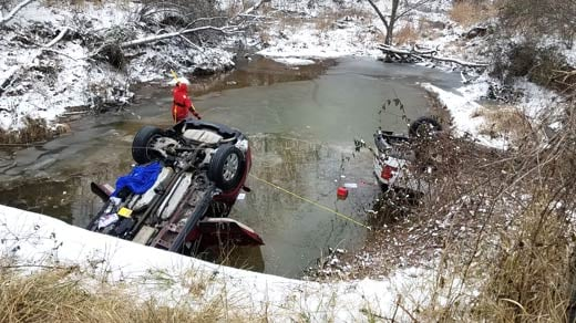 Accident scene along Preddy Creek Road