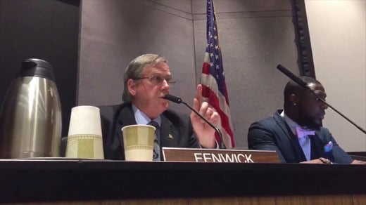 Bob Fenwick abstains voting at Council meeting